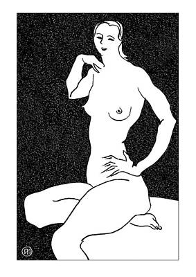 Nude Sketch 25 Art Print by Leonid Petrushin