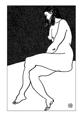 Nude Sketch 26 Art Print by Leonid Petrushin