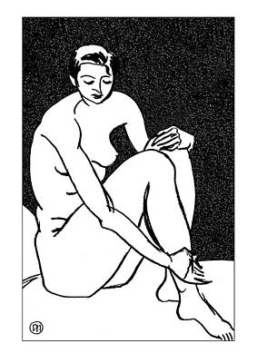 Figurative Drawing - Nude Sketch 27 by Leonid Petrushin