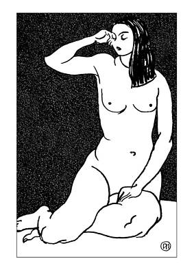 Model Drawing - Nude Sketch 28 by Leonid Petrushin