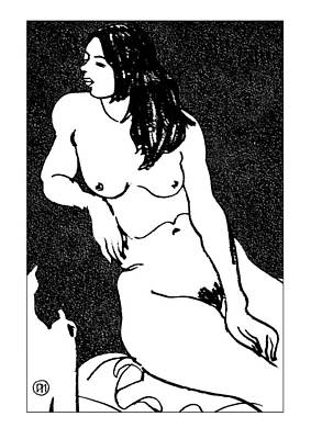 Girl Drawing - Nude Sketch 32 by Leonid Petrushin