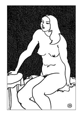 Nude Sketch 34 Art Print by Leonid Petrushin