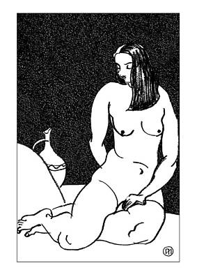 Nude Sketch 38 Art Print by Leonid Petrushin