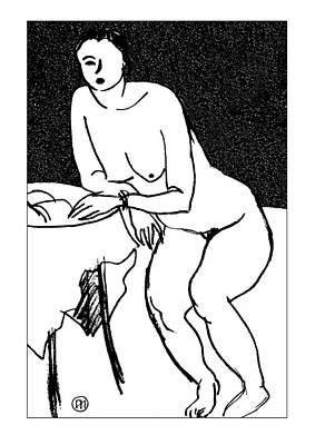 Nude Sketch 40 Art Print by Leonid Petrushin