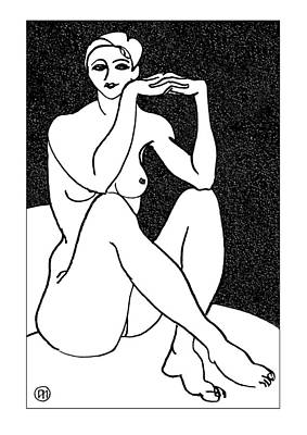 Lady Drawing - Nude Sketch 41 by Leonid Petrushin