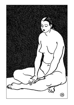 Nude Sketch 46 Print by Leonid Petrushin