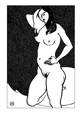 White Drawing - Nude Sketch 47 by Leonid Petrushin