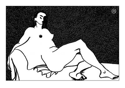 Lady Drawing - Nude Sketch 55 by Leonid Petrushin