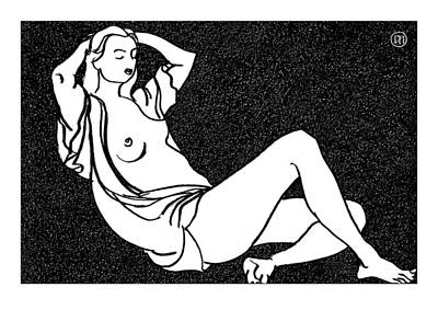 Woman Drawing - Nude Sketch 58 by Leonid Petrushin