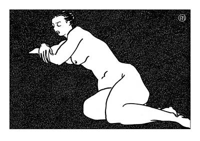 Nude Sketch 60 Print by Leonid Petrushin