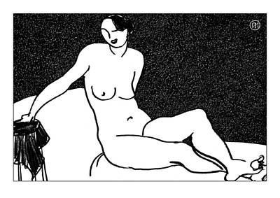 Nude Sketch 65 Art Print by Leonid Petrushin