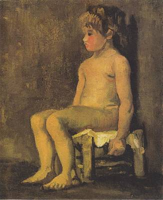Nude Study Of A Little Gir Seated Art Print by Vincent Van Gogh