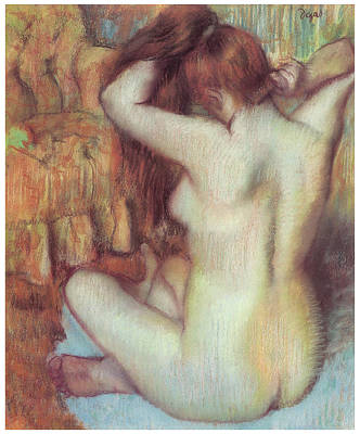 Nude Woman Combing Her Hair Art Print