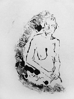 Monoprint Drawing - Nude Young Female That Is Mysterious In A Whispy Atmospheric Hand Wringing Pose Highly Contemplative by M Zimmerman