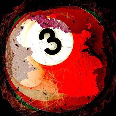 Billiard Digital Art - Number 3 Billiards Ball by David G Paul