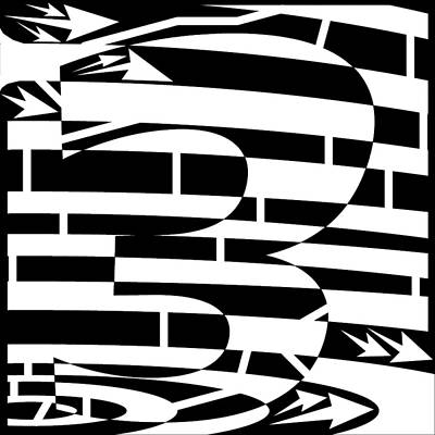 Yonatan Drawing - Number Three Maze By Yonatan Frimer by Yonatan Frimer Maze Artist