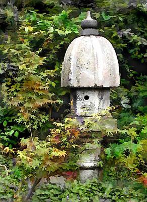 Garden Statuary Painting - Nure Sage The Crane Lantern by Elaine Plesser