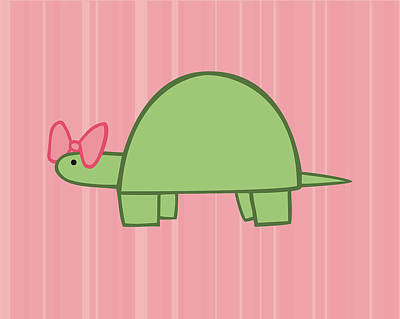 Reptiles Royalty-Free and Rights-Managed Images - Nursery Art Girls Turtle by Christy Beckwith