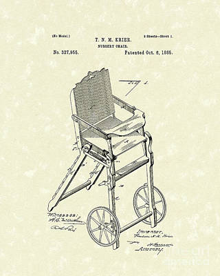 Nursery Chair 1885 Patent Art Art Print by Prior Art Design