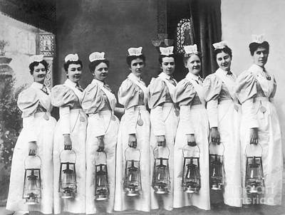 Photograph - Nurses On Night Rounds 1899 by Science Source