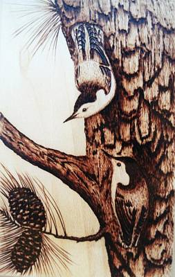 Pyrography Pyrography - Nuthatch Heaven by Susan Rice