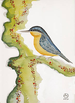 Lady Who Loves Birds Painting - Nuthatch Six by Alexandra  Sanders