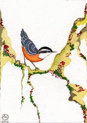 Lady Who Loves Birds Painting - Nuthatch Three by Alexandra  Sanders