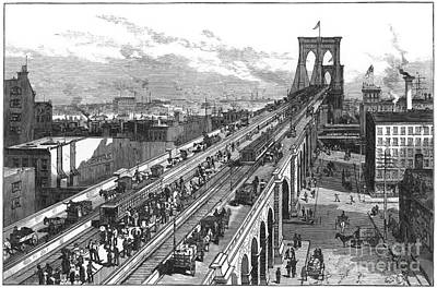 Ny: Brooklyn Bridge, 1883 Art Print by Granger