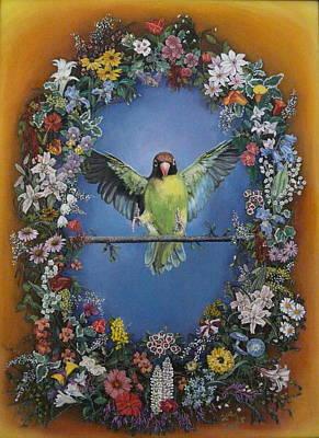 Nyasa Lovebird In Flowers Original by Sue Taylor
