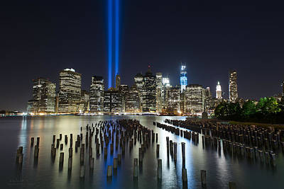 Nyc - Tribute Lights - The Pilings Art Print by Shane Psaltis
