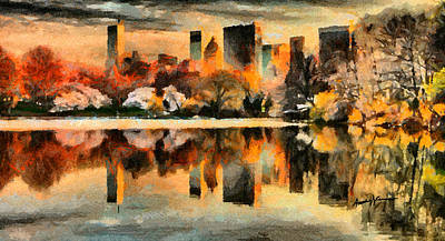 Nyc At Sunset Art Print by Anthony Caruso