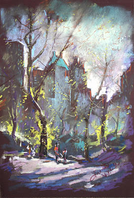 Nyc Central Park Controluce Art Print by Ylli Haruni