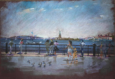 Rivers In The Fall Pastel - Nyc Grand Ferry Park 2 by Ylli Haruni