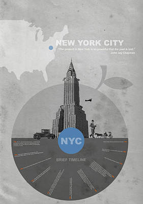 City Digital Art - Nyc Poster by Naxart Studio