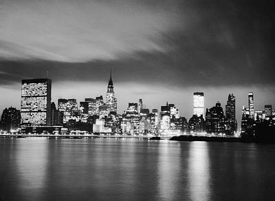 Nyc Skyline At Night Art Print by George Marks