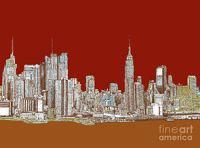 Turquoise Drawing - Nyc Skyline In Red Sepia by Building  Art