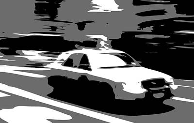 Nyc Taxi Bw3 Art Print