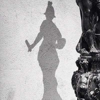 Bronze Wall Art - Photograph - Nyc The Met Bronze Statue Shadow Bw by Nick Valenzuela