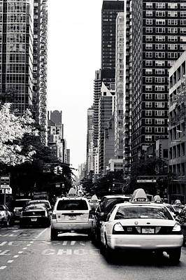 Photograph - Nyc Traffic In Black And White by Anthony Doudt