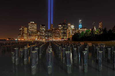 Photograph - Nyc Tribute Lights - The Pier by Shane Psaltis