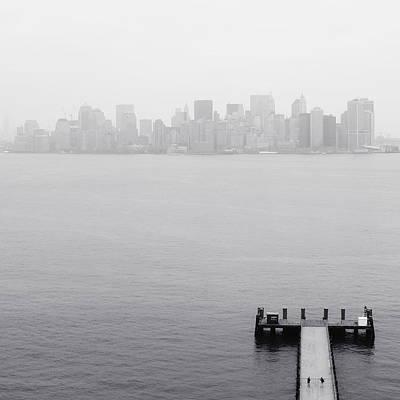 Nyc View From Liberty Island Art Print by Nina Papiorek