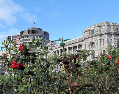 Photograph - Nz Parliament And Beehive by C H Apperson