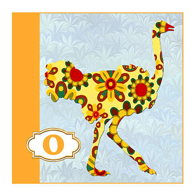 Education Painting - O Is For Ostrich by Elaine Plesser