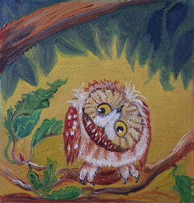 Painting - O Is For Owl Detail From Childhood Quilt Painting by Dawn Senior-Trask