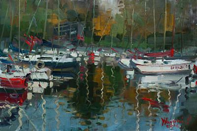 Boat Harbour Wall Art - Painting - Oakville Harbour On by Ylli Haruni