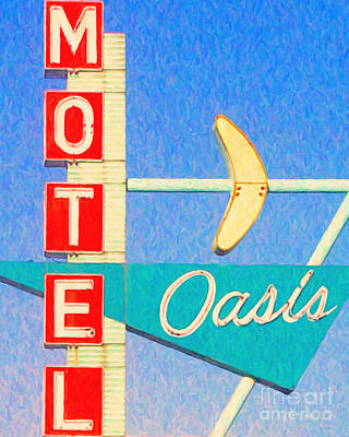 Tulsa Oklahoma. Architecture Photograph - Oasis Motel Tulsa Oklahoma by Wingsdomain Art and Photography