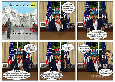 Obama As Uncle Sam I Print by Kevin  Marley