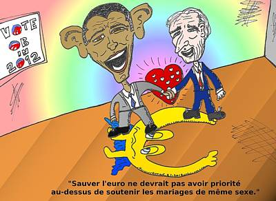 Obama Mixed Media - Obama Et Biden L'amour Et L'euro by OptionsClick BlogArt