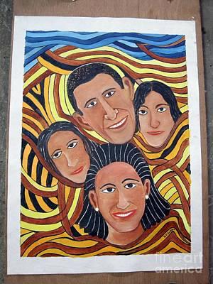 Obama Family Painting - Obama Family- Eyes by Om Joshi