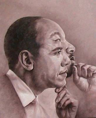 Dr. Martin Luther King Jr Painting - Obama-king Interpretation Of The Dream Fulfilled by Myfa Therzson